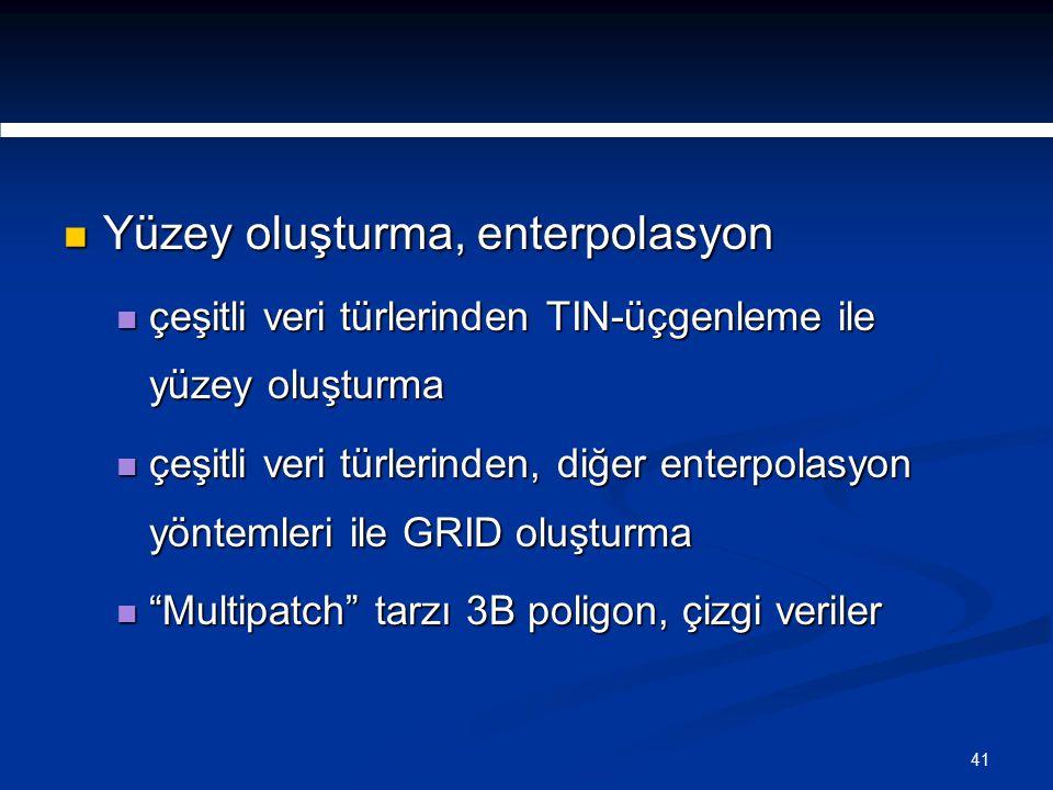 41 Yüzey oluşturma, enterpolasyon Yüzey oluşturma, enterpolasyon çeşitli veri türlerinden TIN-üçgenleme ile yüzey oluşturma çeşitli veri türlerinden TIN-üçgenleme ile yüzey oluşturma çeşitli veri türlerinden, diğer enterpolasyon yöntemleri ile GRID oluşturma çeşitli veri türlerinden, diğer enterpolasyon yöntemleri ile GRID oluşturma Multipatch tarzı 3B poligon, çizgi veriler Multipatch tarzı 3B poligon, çizgi veriler