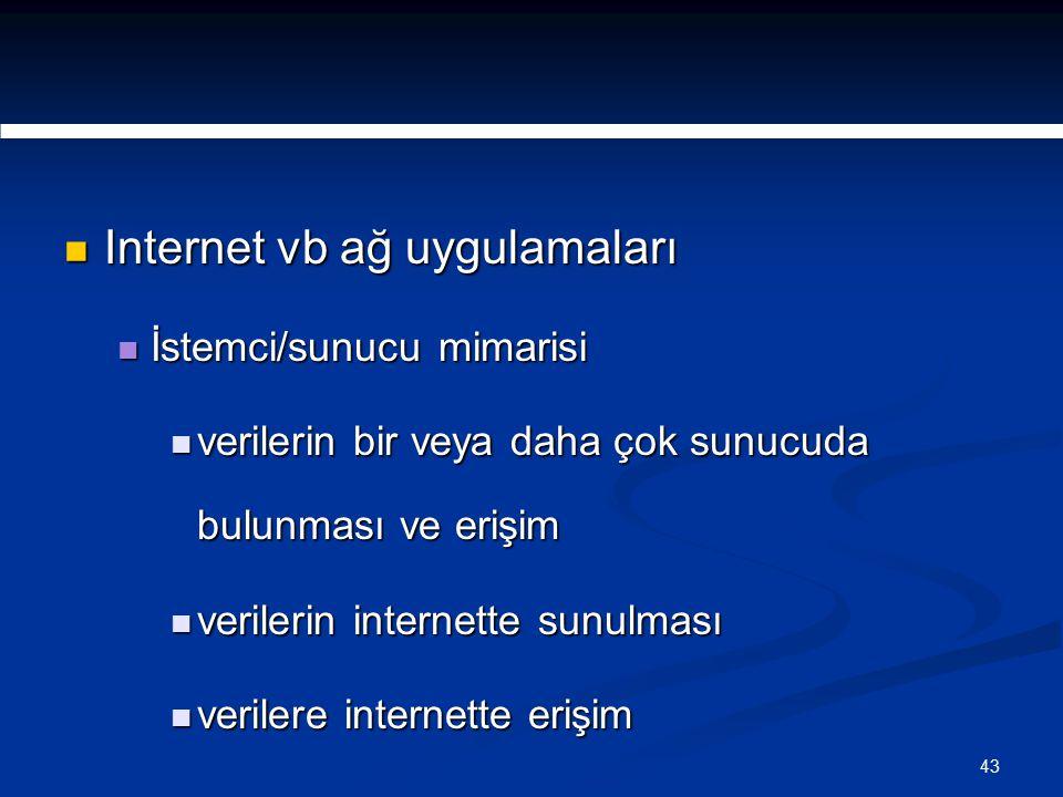 43 Internet vb ağ uygulamaları Internet vb ağ uygulamaları İstemci/sunucu mimarisi İstemci/sunucu mimarisi verilerin bir veya daha çok sunucuda bulunması ve erişim verilerin bir veya daha çok sunucuda bulunması ve erişim verilerin internette sunulması verilerin internette sunulması verilere internette erişim verilere internette erişim