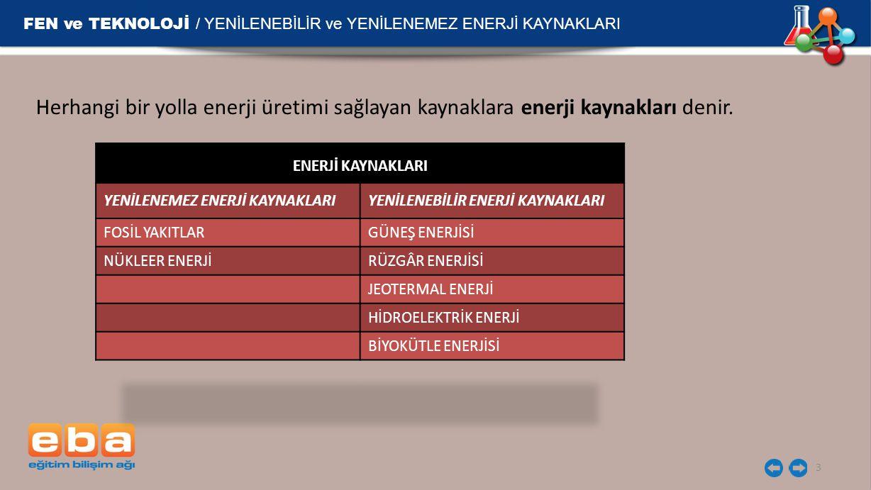 FEN ve TEKNOLOJİ / YENİLENEBİLİR ve YENİLENEMEZ ENERJİ KAYNAKLARI 3 Herhangi bir yolla enerji üretimi sağlayan kaynaklara enerji kaynakları denir.