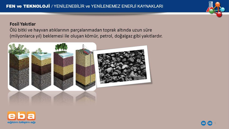 FEN ve TEKNOLOJİ / YENİLENEBİLİR ve YENİLENEMEZ ENERJİ KAYNAKLARI 5 Fosil Yakıtlar Ölü bitki ve hayvan atıklarının parçalanmadan toprak altında uzun s