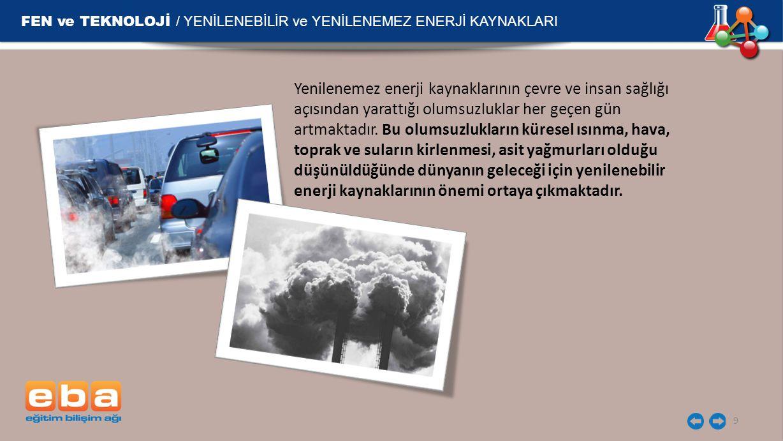 FEN ve TEKNOLOJİ / YENİLENEBİLİR ve YENİLENEMEZ ENERJİ KAYNAKLARI 9 Yenilenemez enerji kaynaklarının çevre ve insan sağlığı açısından yarattığı olumsu