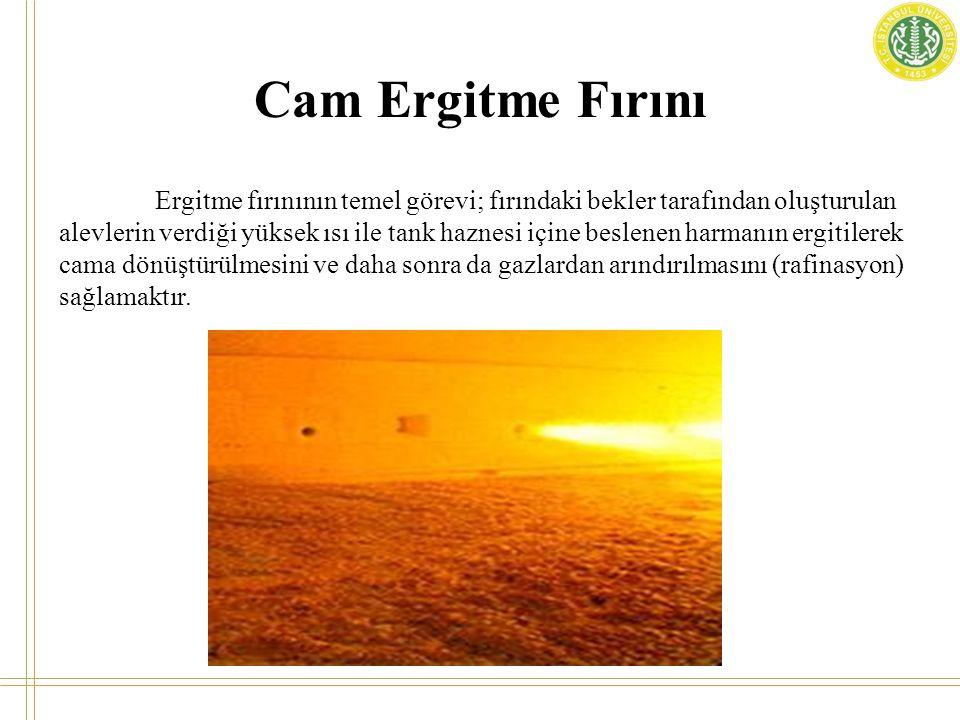 Cam Ergitme Fırını Ergitme fırınının temel görevi; fırındaki bekler tarafından oluşturulan alevlerin verdiği yüksek ısı ile tank haznesi içine beslene