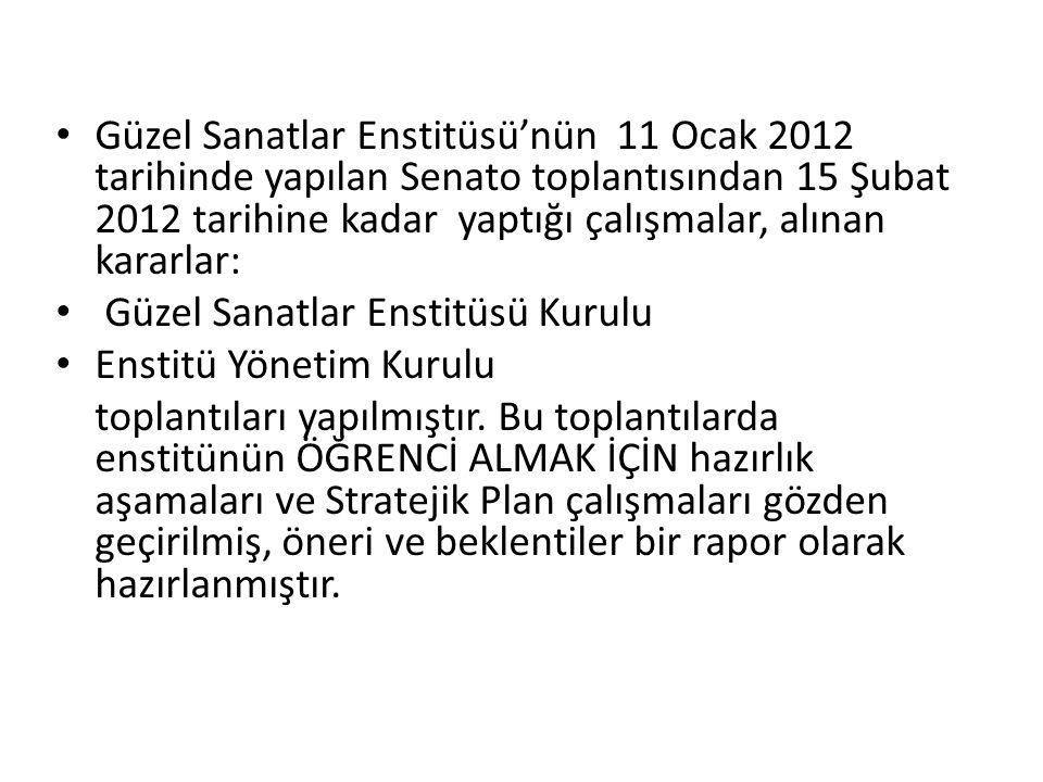Güzel Sanatlar Enstitüsü'nün 11 Ocak 2012 tarihinde yapılan Senato toplantısından 15 Şubat 2012 tarihine kadar yaptığı çalışmalar, alınan kararlar: Gü