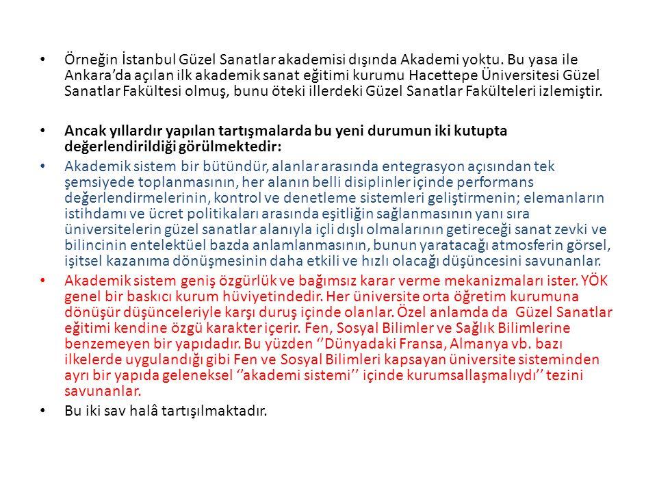 Örneğin İstanbul Güzel Sanatlar akademisi dışında Akademi yoktu. Bu yasa ile Ankara'da açılan ilk akademik sanat eğitimi kurumu Hacettepe Üniversitesi