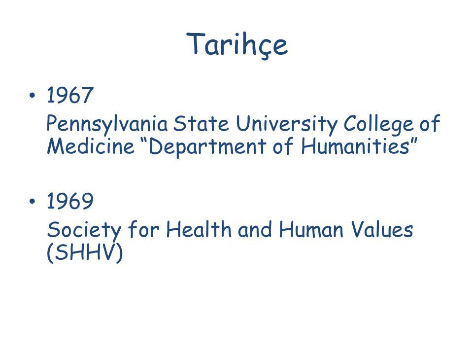 Tarihçe 1973 - Amerikan tıp fakültelerinde 40 tıpta insan bilimleri programı yer almaktadır.