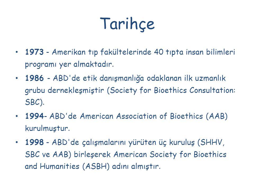 Tarihçe 1973 - Amerikan tıp fakültelerinde 40 tıpta insan bilimleri programı yer almaktadır. 1986 - ABD'de etik danışmanlığa odaklanan ilk uzmanlık gr