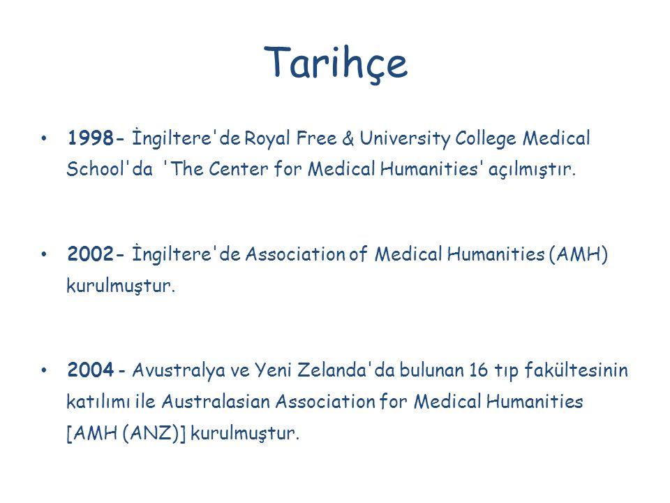 Tarihçe 1998- İngiltere de Royal Free & University College Medical School da The Center for Medical Humanities açılmıştır.