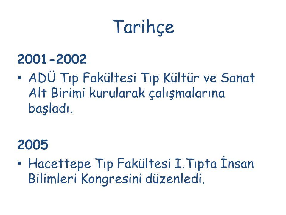 Tarihçe 2001-2002 ADÜ Tıp Fakültesi Tıp Kültür ve Sanat Alt Birimi kurularak çalışmalarına başladı. 2005 Hacettepe Tıp Fakültesi I.Tıpta İnsan Bilimle