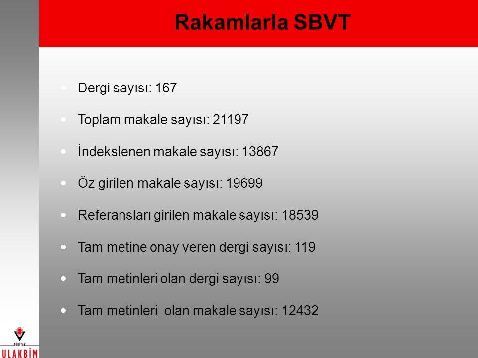 Rakamlarla SBVT Dergi sayısı: 167 Toplam makale sayısı: 21197 İndekslenen makale sayısı: 13867 Öz girilen makale sayısı: 19699 Referansları girilen ma