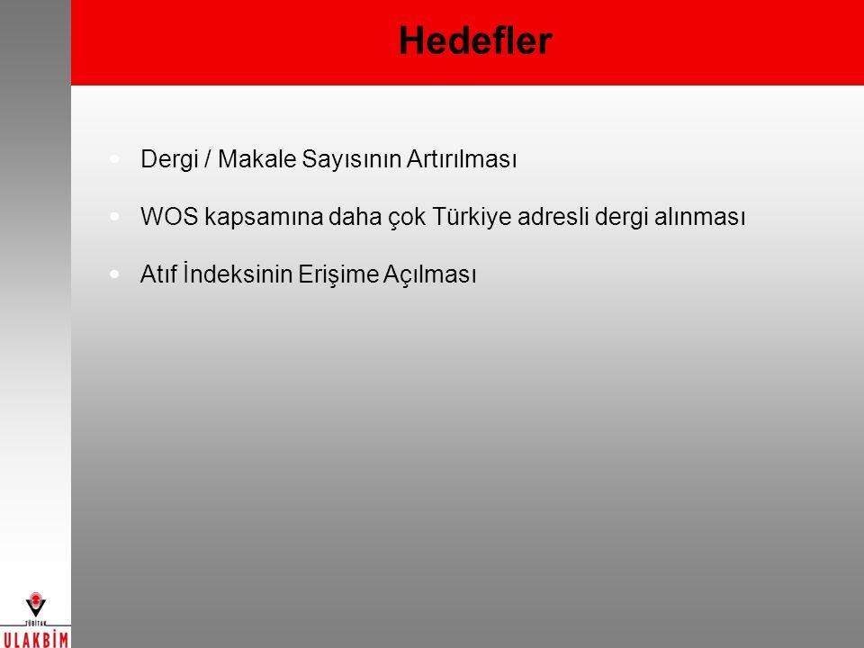 Hedefler Dergi / Makale Sayısının Artırılması WOS kapsamına daha çok Türkiye adresli dergi alınması Atıf İndeksinin Erişime Açılması