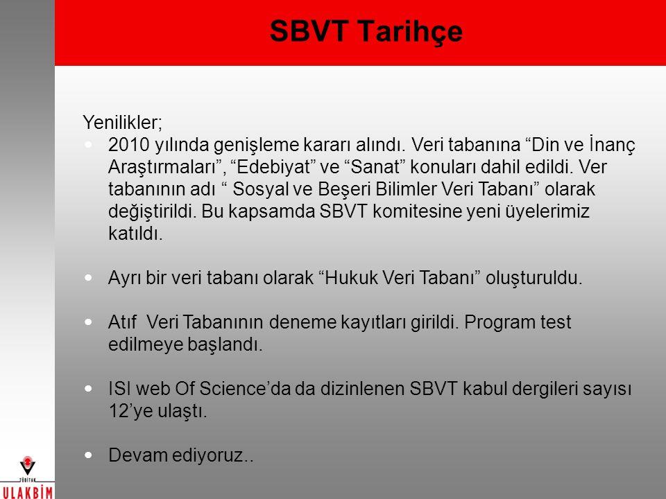 """SBVT Tarihçe Yenilikler; 2010 yılında genişleme kararı alındı. Veri tabanına """"Din ve İnanç Araştırmaları"""", """"Edebiyat"""" ve """"Sanat"""" konuları dahil edildi"""
