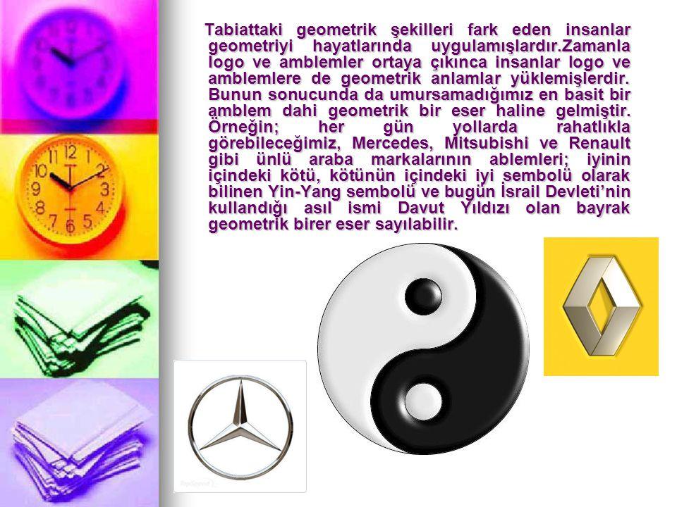 Tabiattaki geometrik şekilleri fark eden insanlar geometriyi hayatlarında uygulamışlardır.Zamanla logo ve amblemler ortaya çıkınca insanlar logo ve amblemlere de geometrik anlamlar yüklemişlerdir.