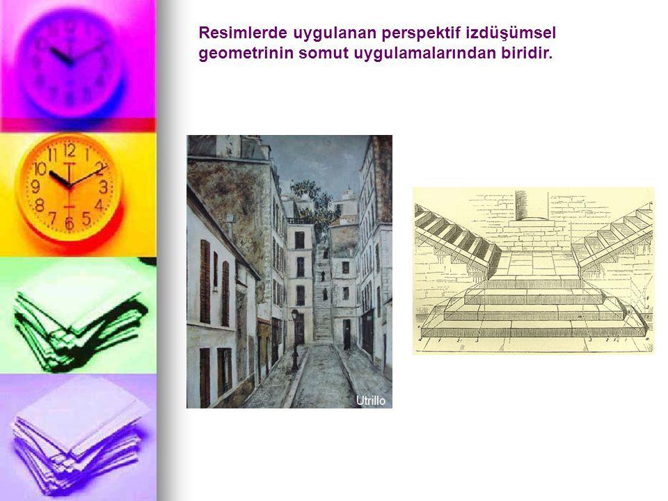 Resimlerde uygulanan perspektif izdüşümsel geometrinin somut uygulamalarından biridir.