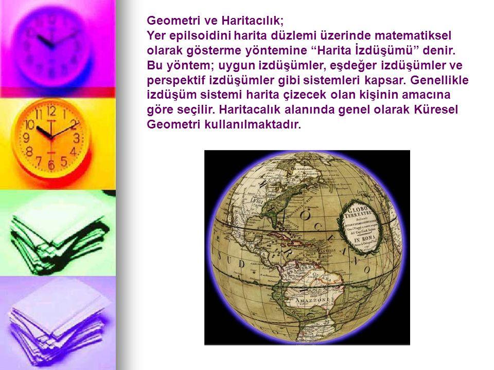 Geometri ve Haritacılık; Yer epilsoidini harita düzlemi üzerinde matematiksel olarak gösterme yöntemine Harita İzdüşümü denir.