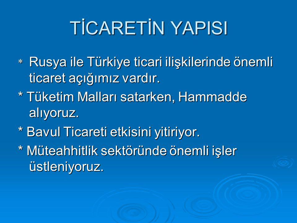 TİCARETİN YAPISI * Rusya ile Türkiye ticari ilişkilerinde önemli ticaret açığımız vardır. * Tüketim Malları satarken, Hammadde alıyoruz. * Bavul Ticar