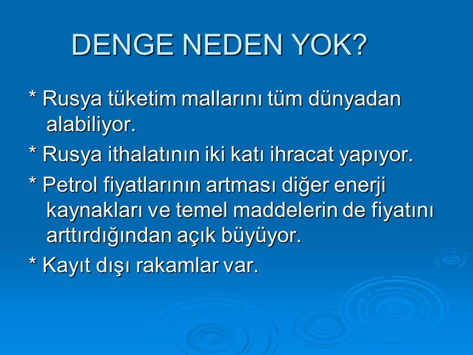 TİCARETE KONU ÜRÜNLER * Türkiye petrol, doğal gaz, kömür, demir çelik, orman ürünleri, v.b alıyor * İthalatımız daha çok üretim sektörlerine girdi sağlıyor.