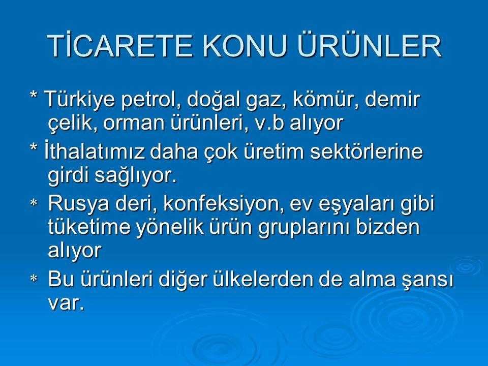 TİCARETE KONU ÜRÜNLER * Türkiye petrol, doğal gaz, kömür, demir çelik, orman ürünleri, v.b alıyor * İthalatımız daha çok üretim sektörlerine girdi sağ
