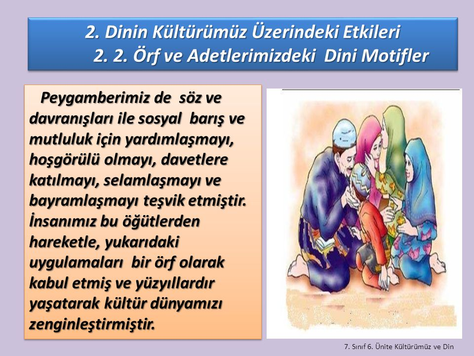 7. Sınıf 6. Ünite Kültürümüz ve Din Peygamberimiz de söz ve davranışları ile sosyal barış ve mutluluk için yardımlaşmayı, hoşgörülü olmayı, davetlere