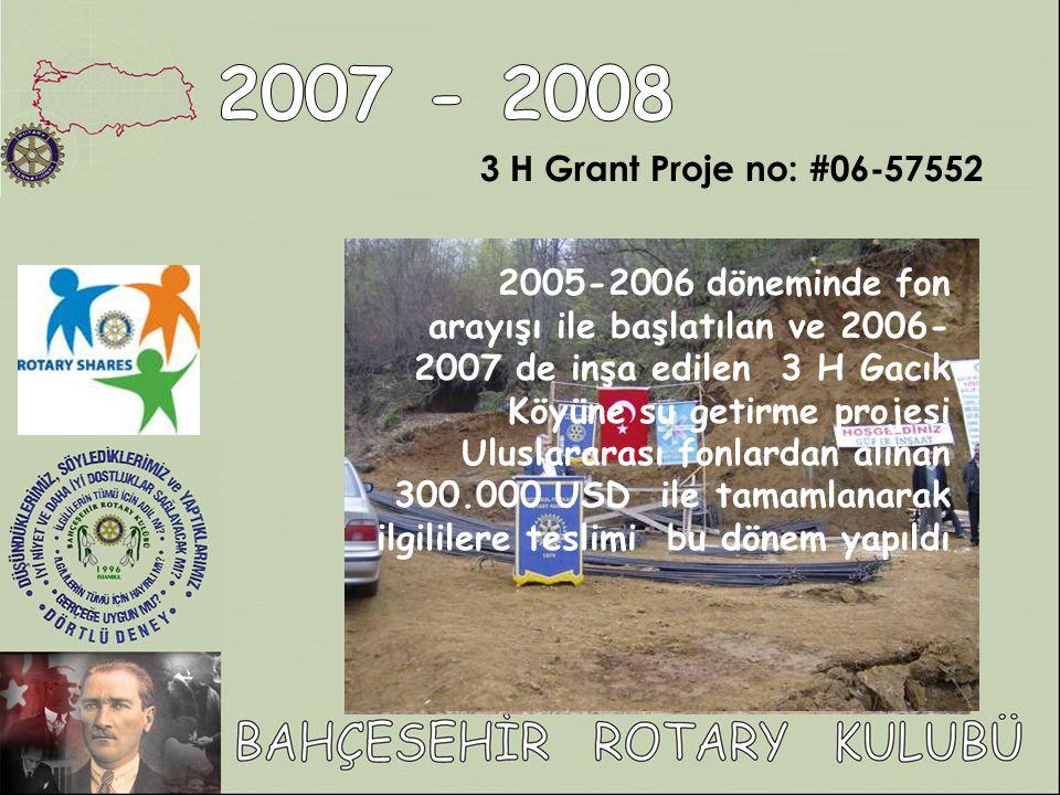 3 H Grant Proje no: #06-57552 2005-2006 döneminde fon arayışı ile başlatılan ve 2006- 2007 de inşa edilen 3 H Gacık Köyüne su getirme projesi Uluslararası fonlardan alınan 300.000 USD ile tamamlanarak ilgililere teslimi bu dönem yapıldı