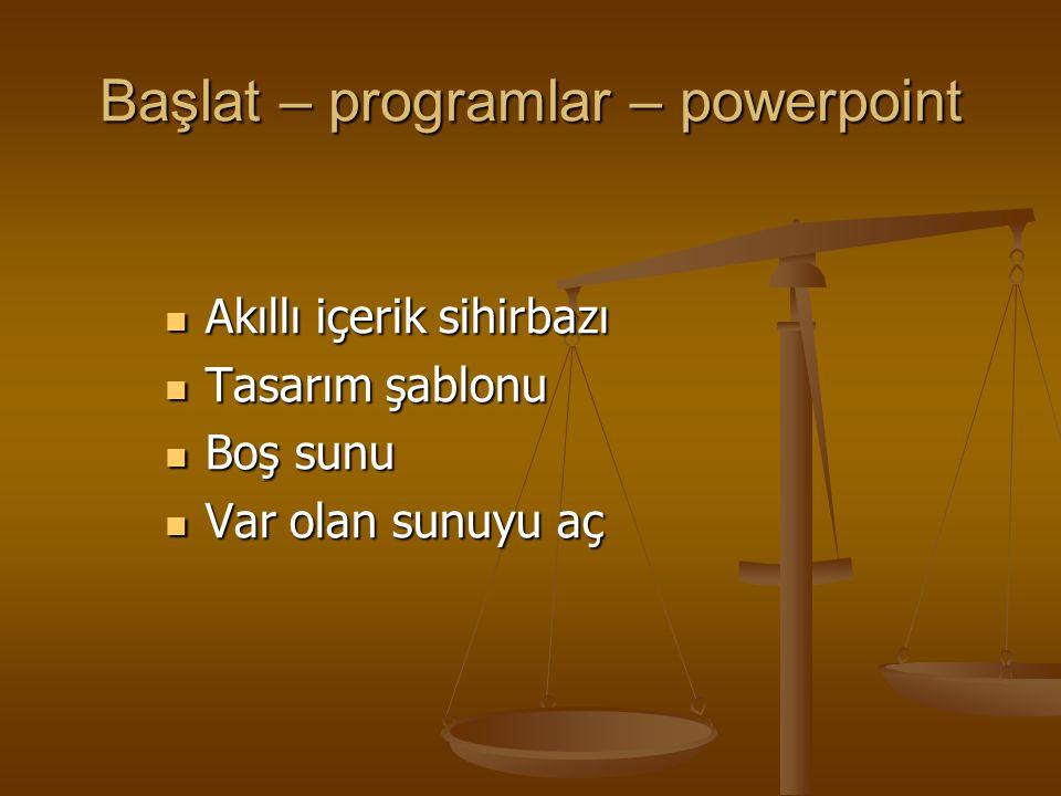 Başlat – programlar – powerpoint Akıllı içerik sihirbazı Akıllı içerik sihirbazı Tasarım şablonu Tasarım şablonu Boş sunu Boş sunu Var olan sunuyu aç