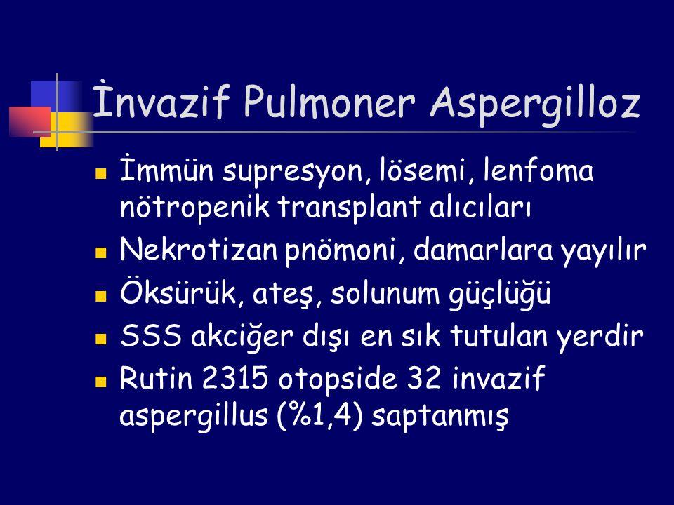 İnvazif Pulmoner Aspergilloz İmmün supresyon, lösemi, lenfoma nötropenik transplant alıcıları Nekrotizan pnömoni, damarlara yayılır Öksürük, ateş, sol