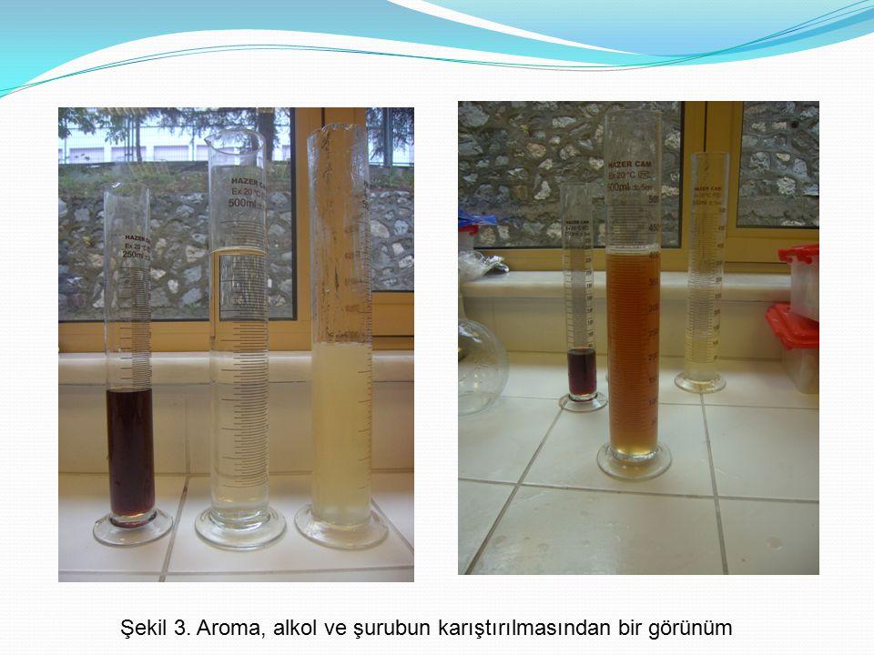 Şekil 3. Aroma, alkol ve şurubun karıştırılmasından bir görünüm