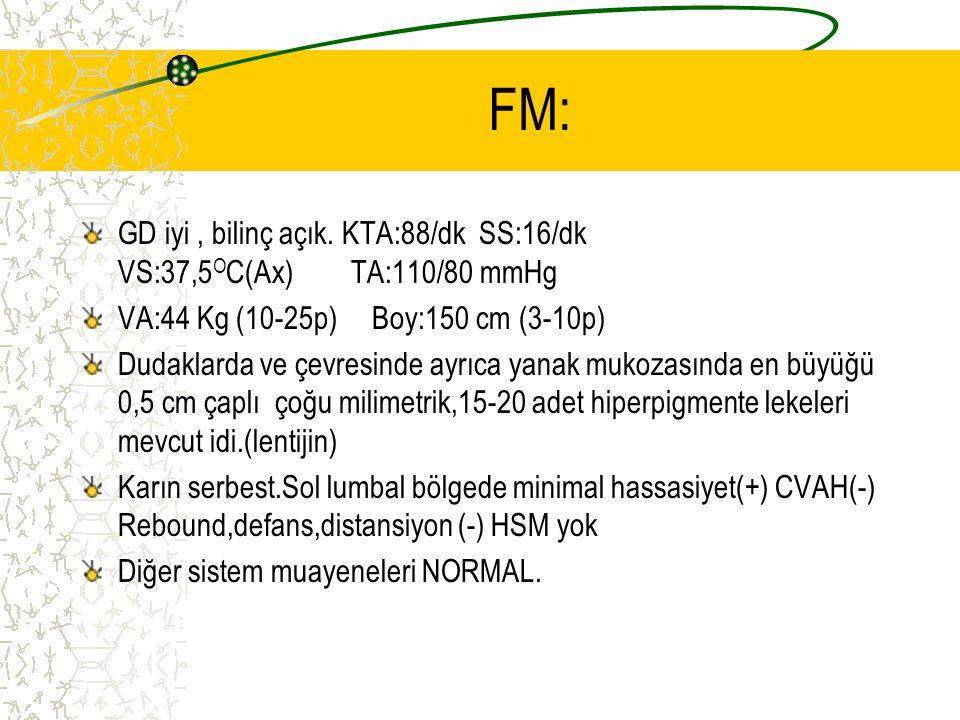 FM: GD iyi, bilinç açık. KTA:88/dk SS:16/dk VS:37,5 O C(Ax) TA:110/80 mmHg VA:44 Kg (10-25p) Boy:150 cm (3-10p) Dudaklarda ve çevresinde ayrıca yanak