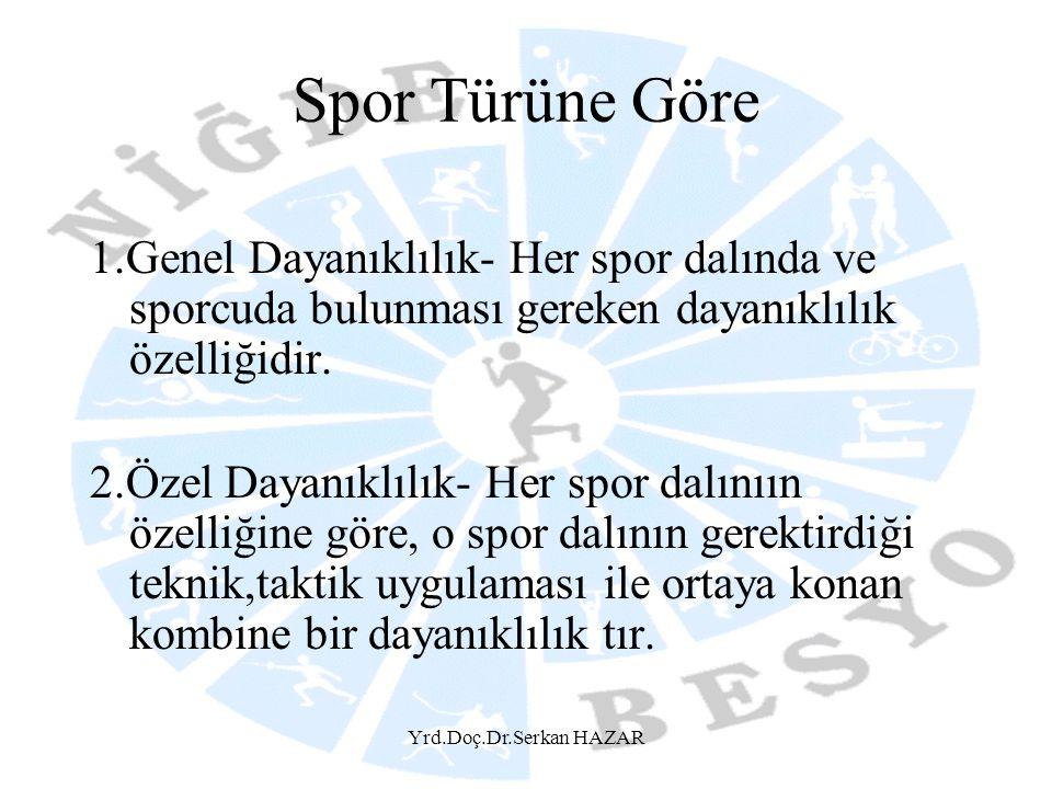 Yrd.Doç.Dr.Serkan HAZAR Spor Türüne Göre 1.Genel Dayanıklılık- Her spor dalında ve sporcuda bulunması gereken dayanıklılık özelliğidir. 2.Özel Dayanık