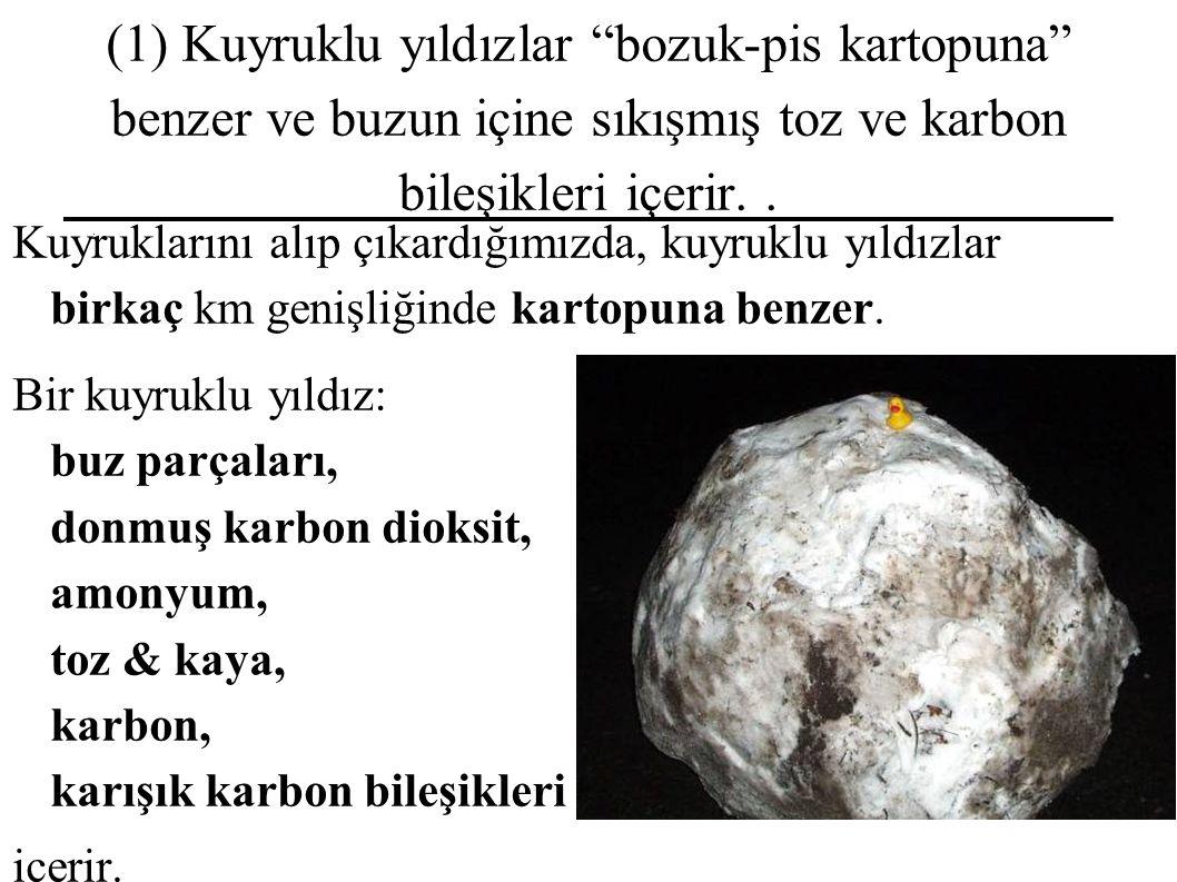 (1) Kuyruklu yıldızlar bozuk-pis kartopuna benzer ve buzun içine sıkışmış toz ve karbon bileşikleri içerir..