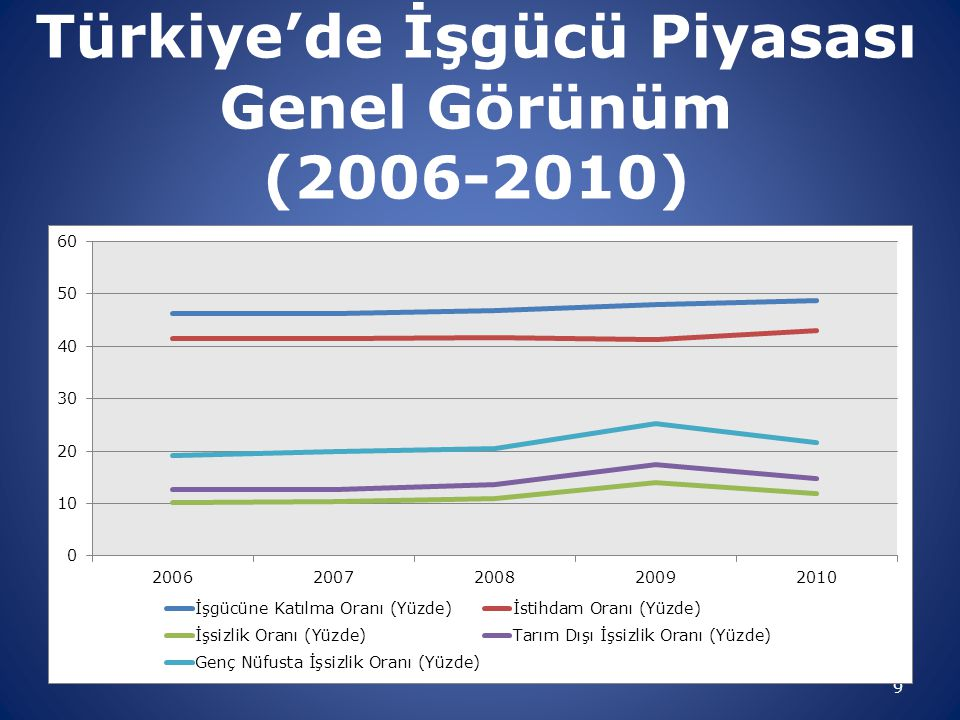 9 Türkiye'de İşgücü Piyasası Genel Görünüm (2006-2010)