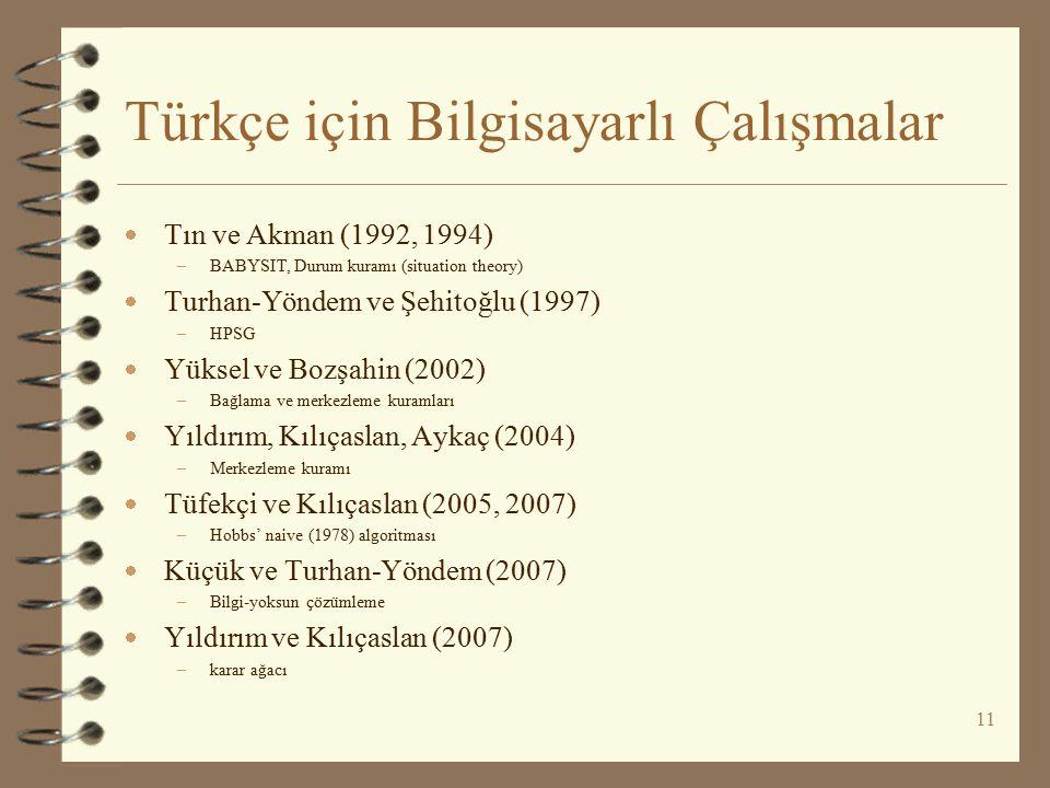 Türkçe için Bilgisayarlı Çalışmalar  Tın ve Akman (1992, 1994) –BABYSIT, Durum kuramı (situation theory)  Turhan-Yöndem ve Şehitoğlu (1997) –HPSG 