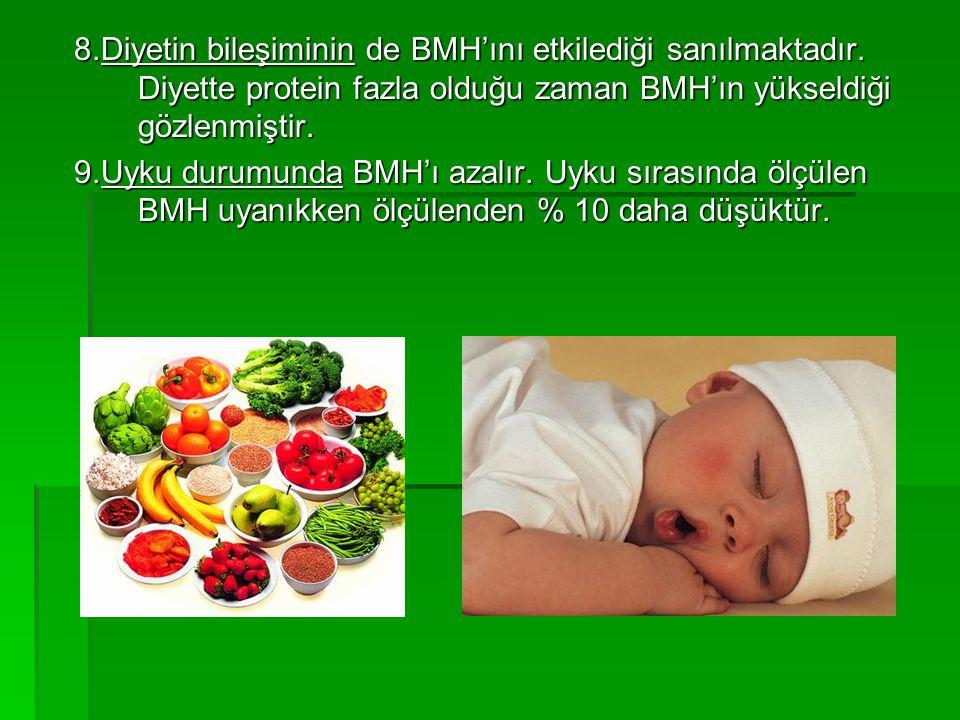 8.Diyetin bileşiminin de BMH'ını etkilediği sanılmaktadır. Diyette protein fazla olduğu zaman BMH'ın yükseldiği gözlenmiştir. 9.Uyku durumunda BMH'ı a