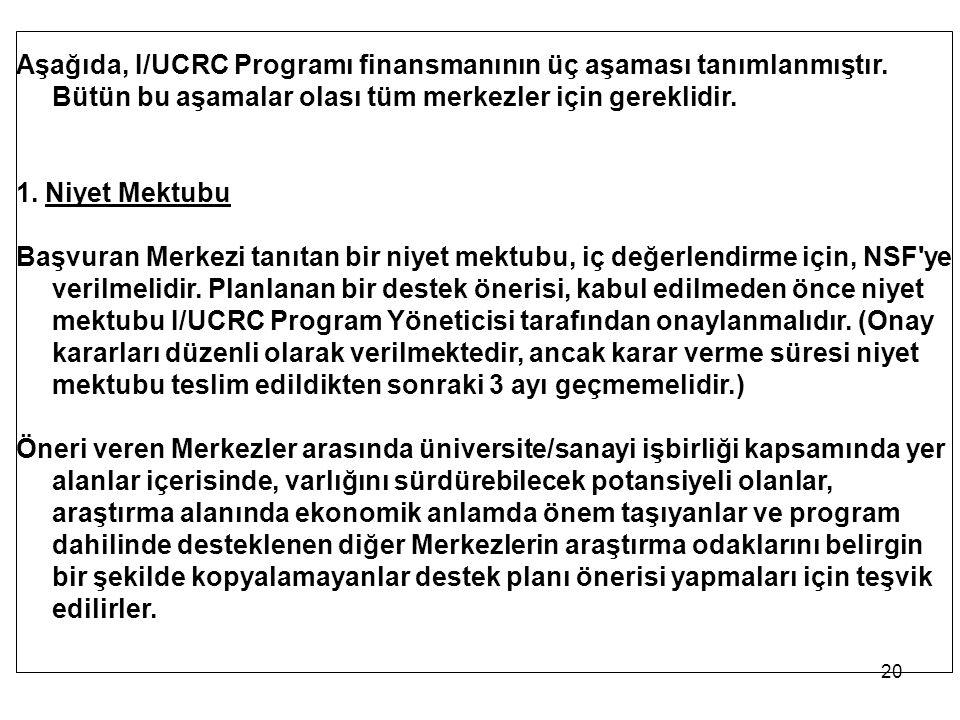 20 Aşağıda, I/UCRC Programı finansmanının üç aşaması tanımlanmıştır. Bütün bu aşamalar olası tüm merkezler için gereklidir. 1. Niyet Mektubu Başvuran