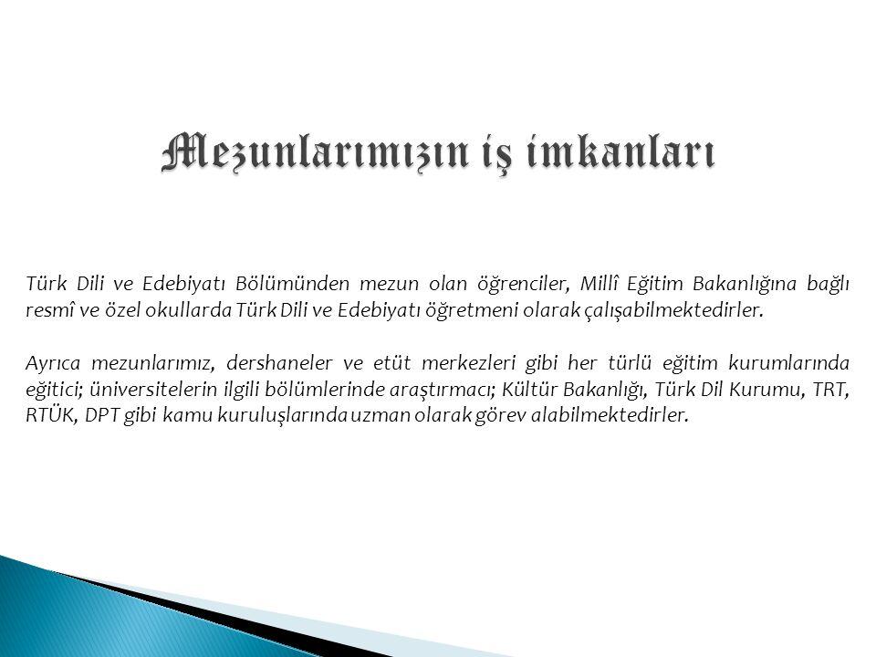 Türk Dili ve Edebiyatı Bölümünden mezun olan öğrenciler, Millî Eğitim Bakanlığına bağlı resmî ve özel okullarda Türk Dili ve Edebiyatı öğretmeni olara