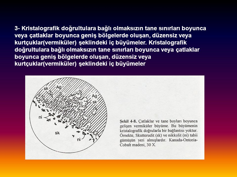 3- Kristalografik doğrultulara bağlı olmaksızın tane sınırları boyunca veya çatlaklar boyunca geniş bölgelerde oluşan, düzensiz veya kurtçuklar(vermik