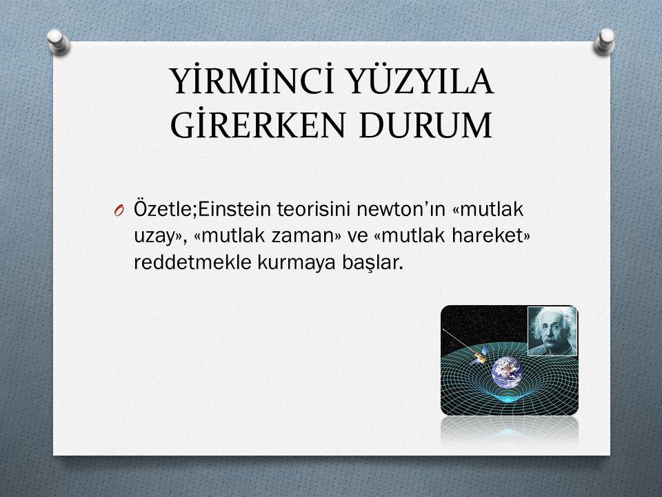 YİRMİNCİ YÜZYILA GİRERKEN DURUM O Özetle;Einstein teorisini newton'ın «mutlak uzay», «mutlak zaman» ve «mutlak hareket» reddetmekle kurmaya başlar.