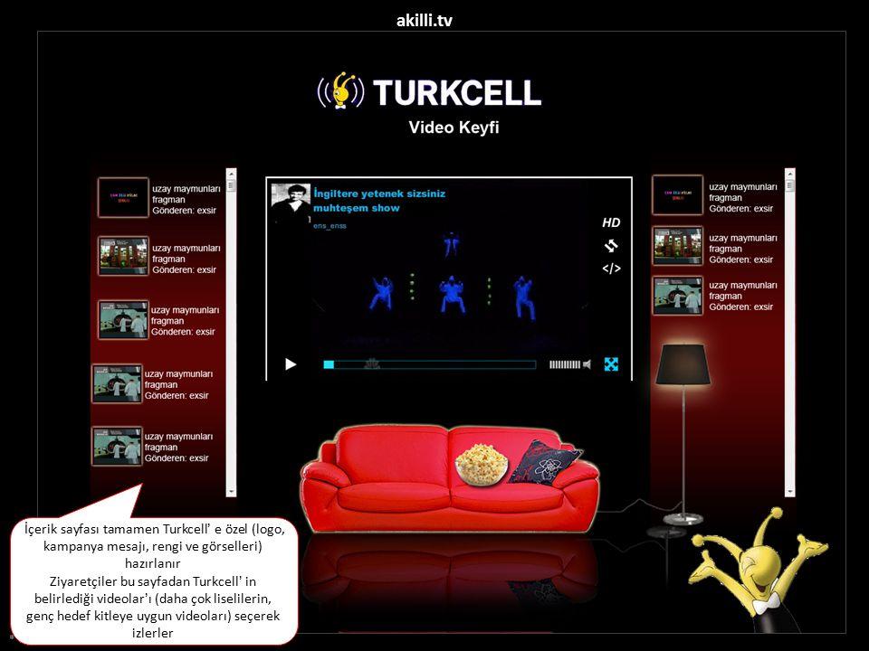 * Görseller temsilidir akilli.tv İçerik sayfası tamamen Turkcell' e özel (logo, kampanya mesajı, rengi ve görselleri) hazırlanır Ziyaretçiler bu sayfadan Turkcell' in belirlediği videolar'ı (daha çok liselilerin, genç hedef kitleye uygun videoları) seçerek izlerler