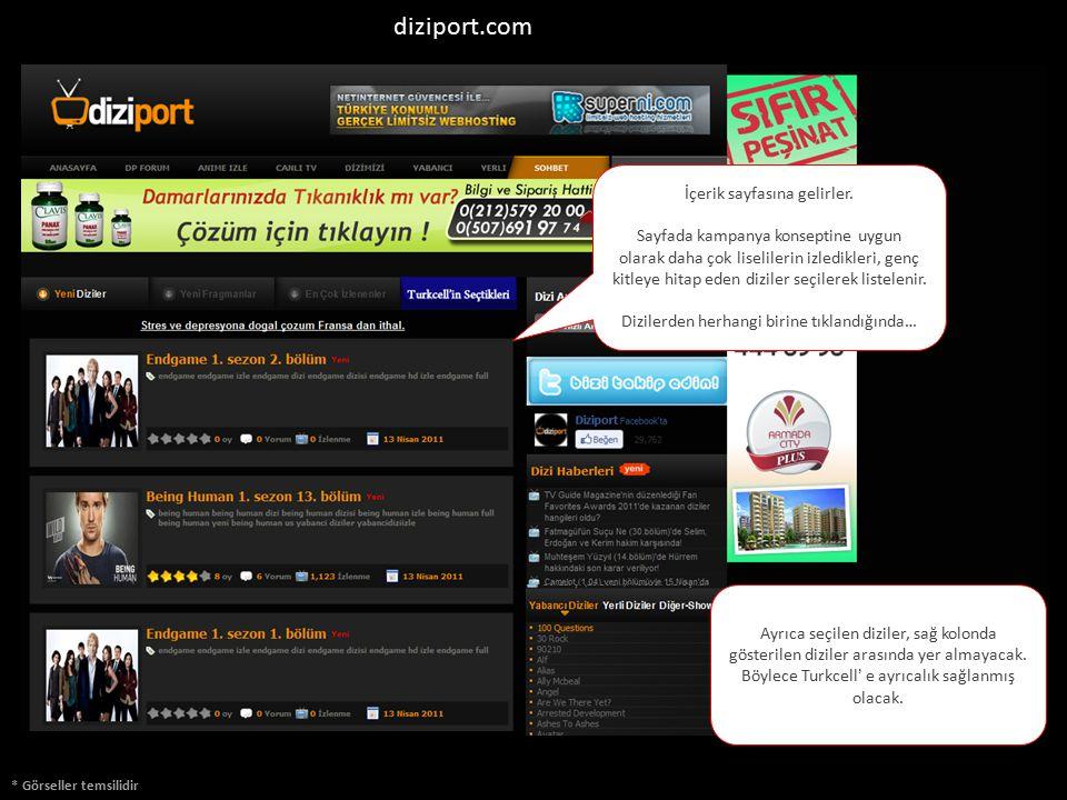 * Görseller temsilidir diziport.com İçerik sayfasına gelirler. Sayfada kampanya konseptine uygun olarak daha çok liselilerin izledikleri, genç kitleye