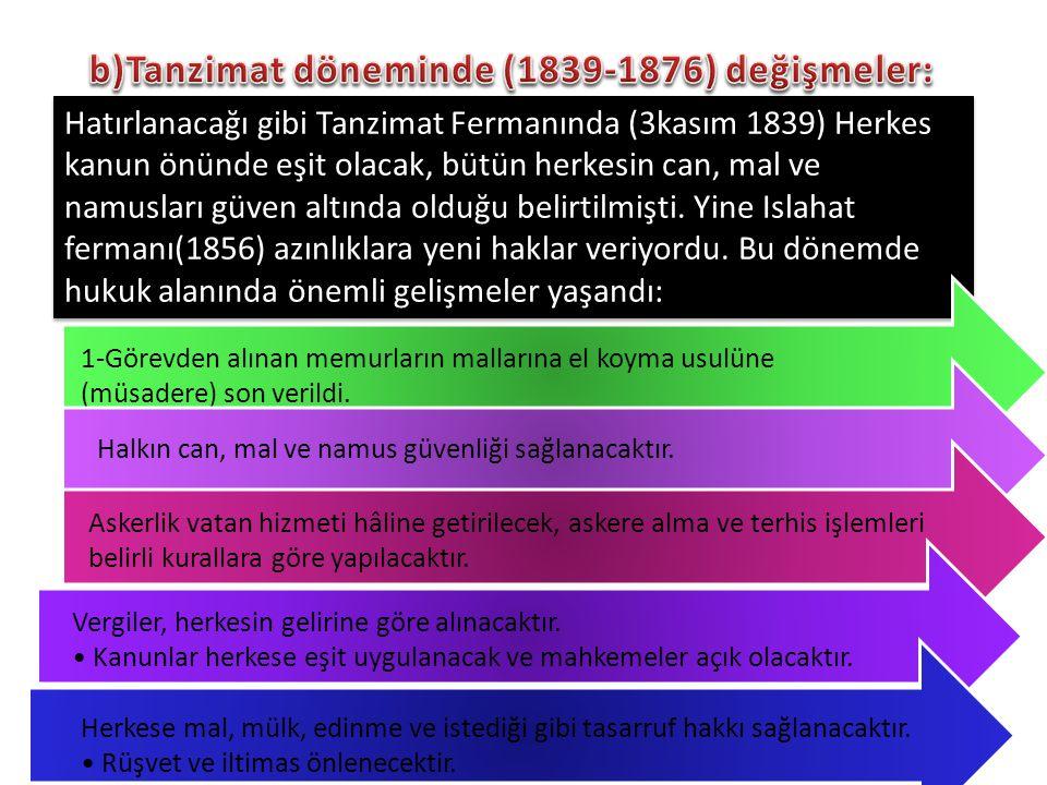 Hatırlanacağı gibi Tanzimat Fermanında (3kasım 1839) Herkes kanun önünde eşit olacak, bütün herkesin can, mal ve namusları güven altında olduğu belirt