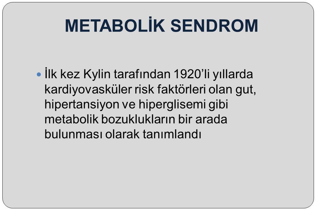METABOLİK SENDROM İlk kez Kylin tarafından 1920'li yıllarda kardiyovasküler risk faktörleri olan gut, hipertansiyon ve hiperglisemi gibi metabolik boz