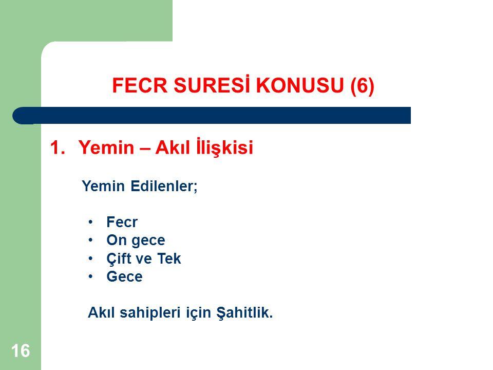 16 FECR SURESİ KONUSU (6) 1.