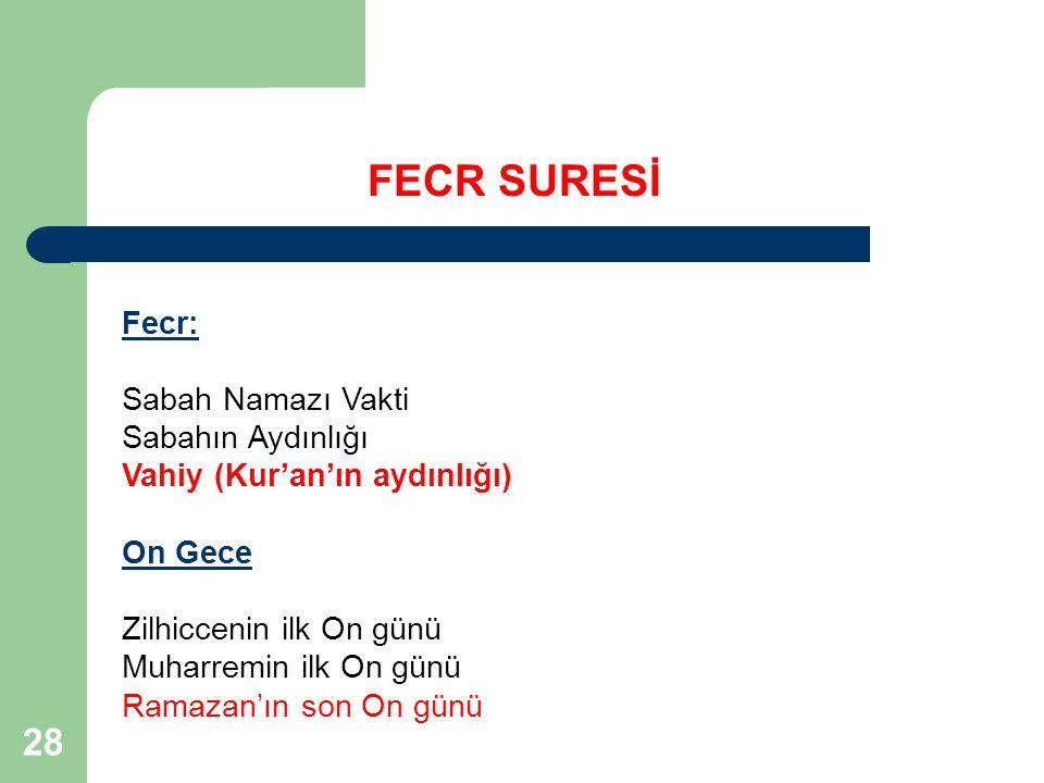 28 FECR SURESİ Fecr: Sabah Namazı Vakti Sabahın Aydınlığı Vahiy (Kur'an'ın aydınlığı) On Gece Zilhiccenin ilk On günü Muharremin ilk On günü Ramazan'ı