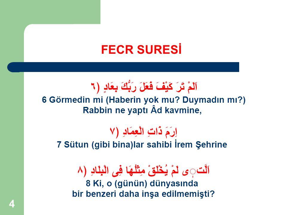 35 FECR SURESİ Yemin edilen beş değerin, akıl sahipleri için büyük önem arz ettiği ifade edilmektedir.