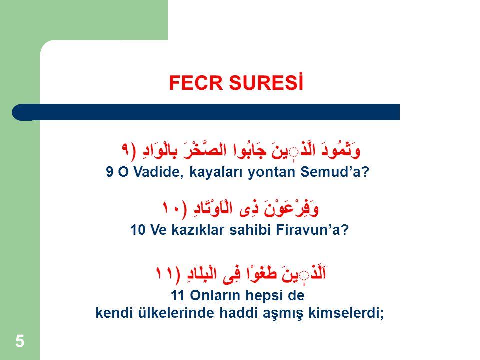 36 FECR SURESİ Mesela; Ad, Semud, Firavn kavmi.
