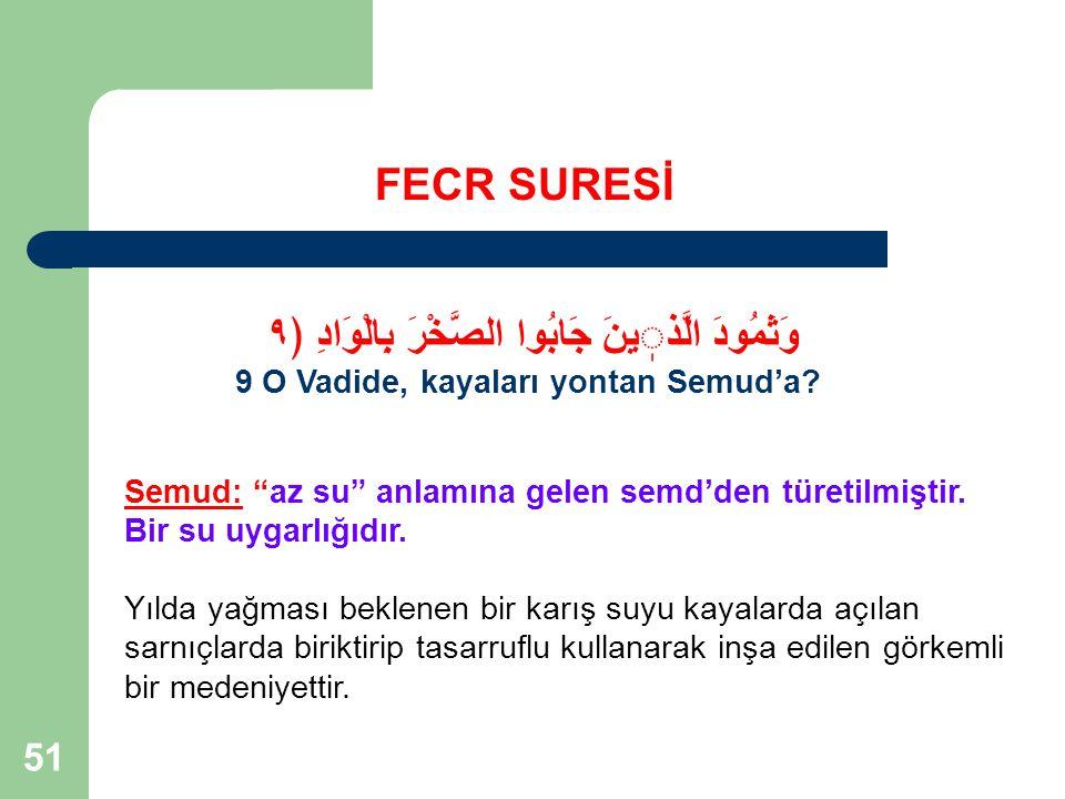 51 FECR SURESİ وَثَمُودَ الَّذينَ جَابُوا الصَّخْرَ بِالْوَادِ ﴿٩ 9 O Vadide, kayaları yontan Semud'a.