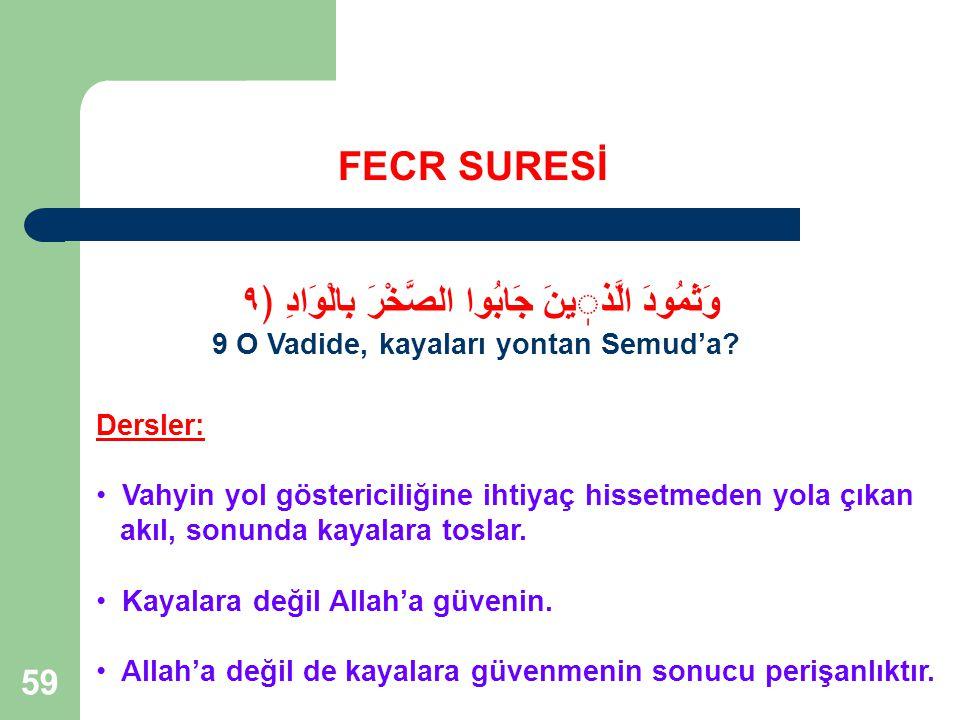 59 FECR SURESİ وَثَمُودَ الَّذينَ جَابُوا الصَّخْرَ بِالْوَادِ ﴿٩ 9 O Vadide, kayaları yontan Semud'a.