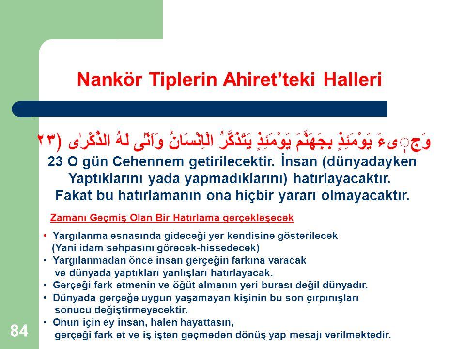 84 Nankör Tiplerin Ahiret'teki Halleri وَجیءَ يَوْمَئِذٍ بِجَهَنَّمَ يَوْمَئِذٍ يَتَذَكَّرُ الْاِنْسَانُ وَاَنّٰى لَهُ الذِّكْرٰى ﴿٢٣ 23 O gün Cehenne