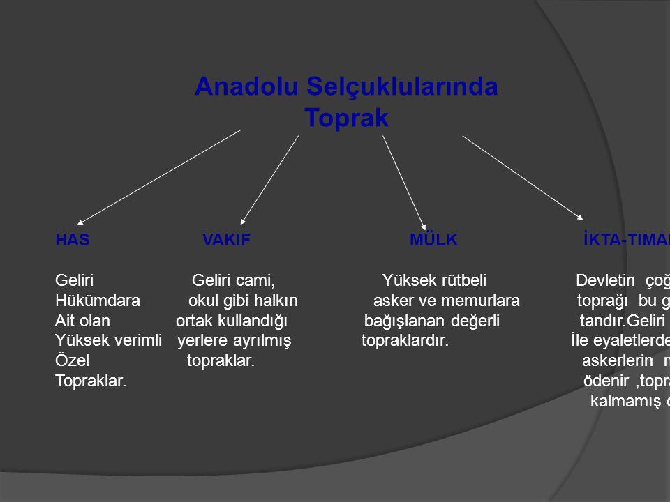 Anadolu Selçuklularında Toprak HAS VAKIF MÜLK İKTA-TIMAR Geliri Geliri cami, Yüksek rütbeli Devletin çoğu Hükümdara okul gibi halkın asker ve memurlar