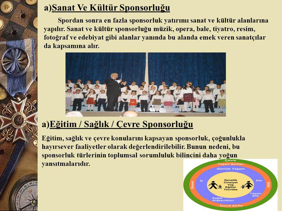 a)Sanat Ve Kültür Sponsorluğu Spordan sonra en fazla sponsorluk yatırımı sanat ve kültür alanlarına yapılır.