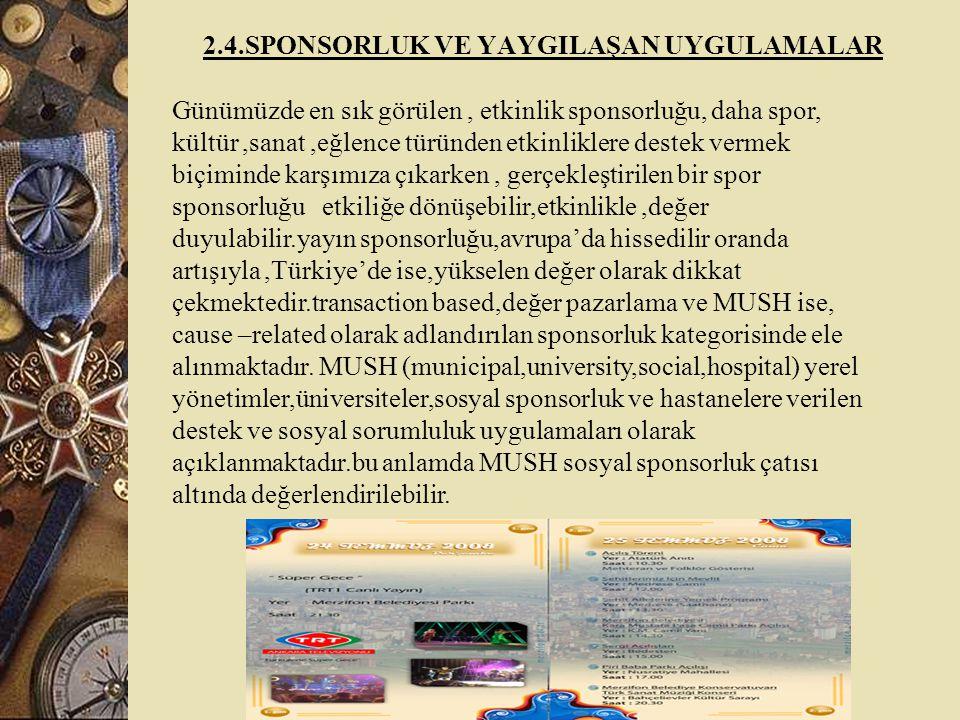 2.4.SPONSORLUK VE YAYGILAŞAN UYGULAMALAR Günümüzde en sık görülen, etkinlik sponsorluğu, daha spor, kültür,sanat,eğlence türünden etkinliklere destek vermek biçiminde karşımıza çıkarken, gerçekleştirilen bir spor sponsorluğu etkiliğe dönüşebilir,etkinlikle,değer duyulabilir.yayın sponsorluğu,avrupa'da hissedilir oranda artışıyla,Türkiye'de ise,yükselen değer olarak dikkat çekmektedir.transaction based,değer pazarlama ve MUSH ise, cause –related olarak adlandırılan sponsorluk kategorisinde ele alınmaktadır.